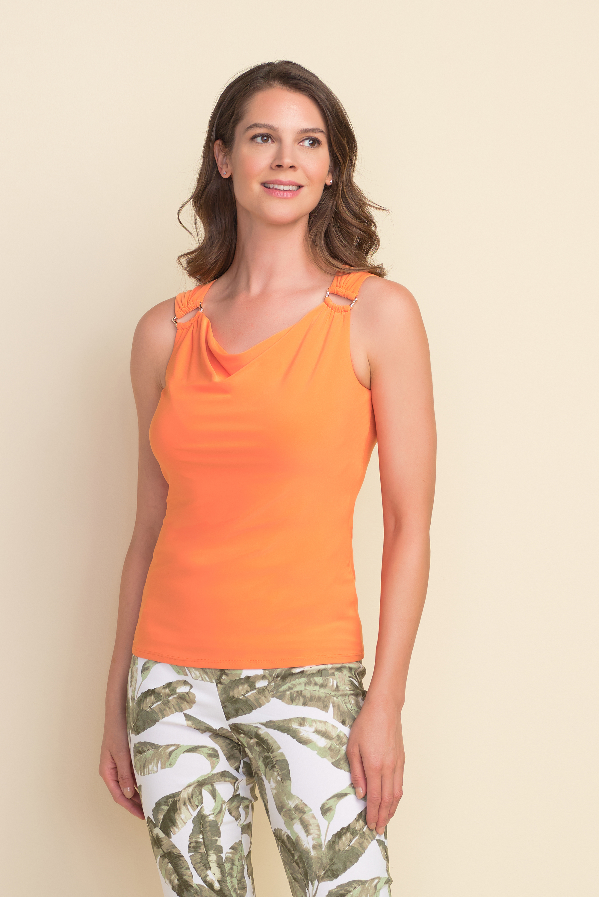 Joseph Ribkoff Sleeveless Top Style 212166 Ring Accent, 3 Colors Available