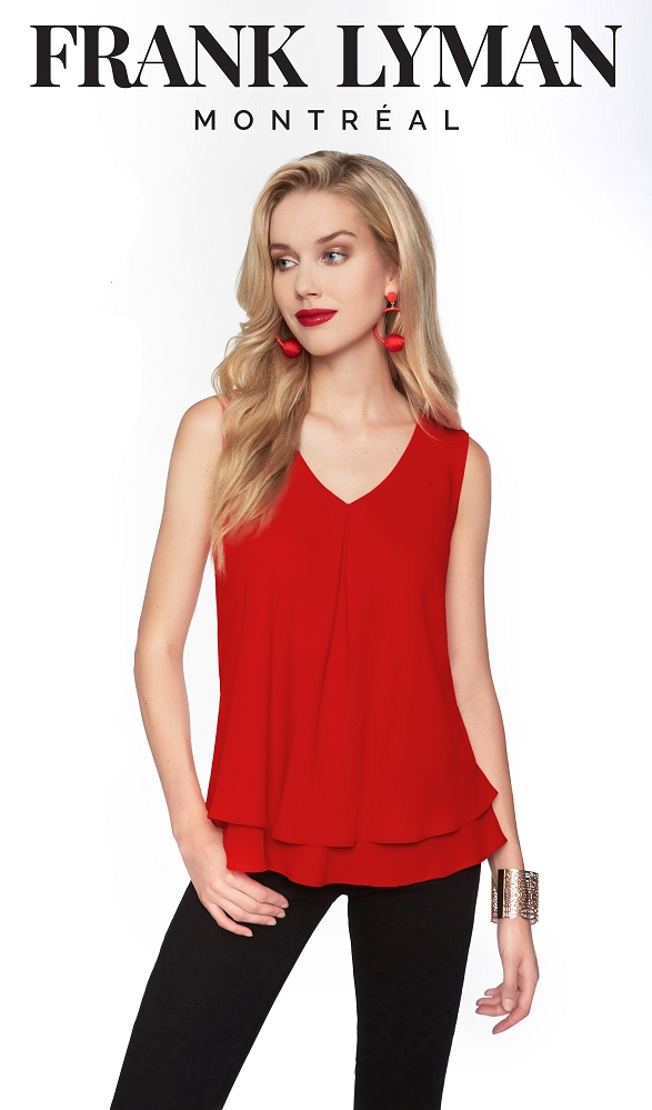 Frank Lyman Womens Chiffon Tank Top, Style 61175, 12 Colors Available