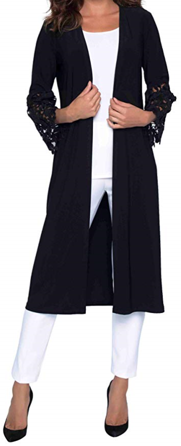 FRANK LYMAN Womens Lace Duster, Style 183131, Color Black