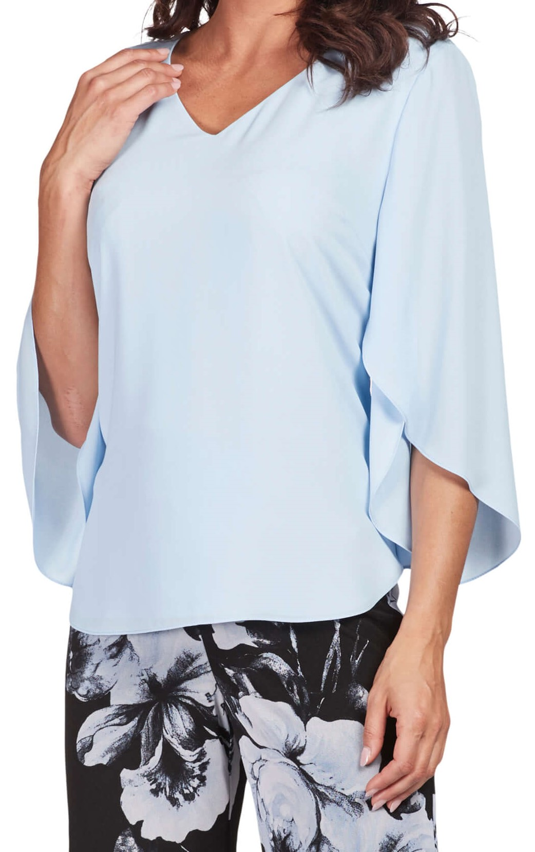 Frank Lyman Womens Split Sleeved Top, Style 186148U, Color Powder Blue