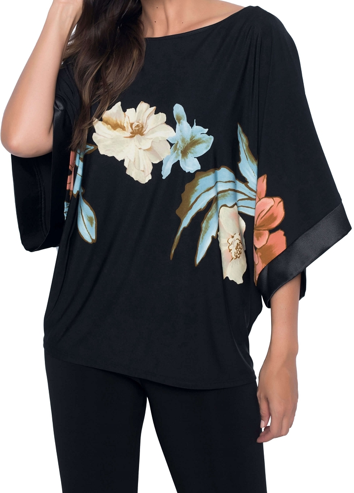 Frank Lyman Womens Floral Top, Style 186884, Color Black