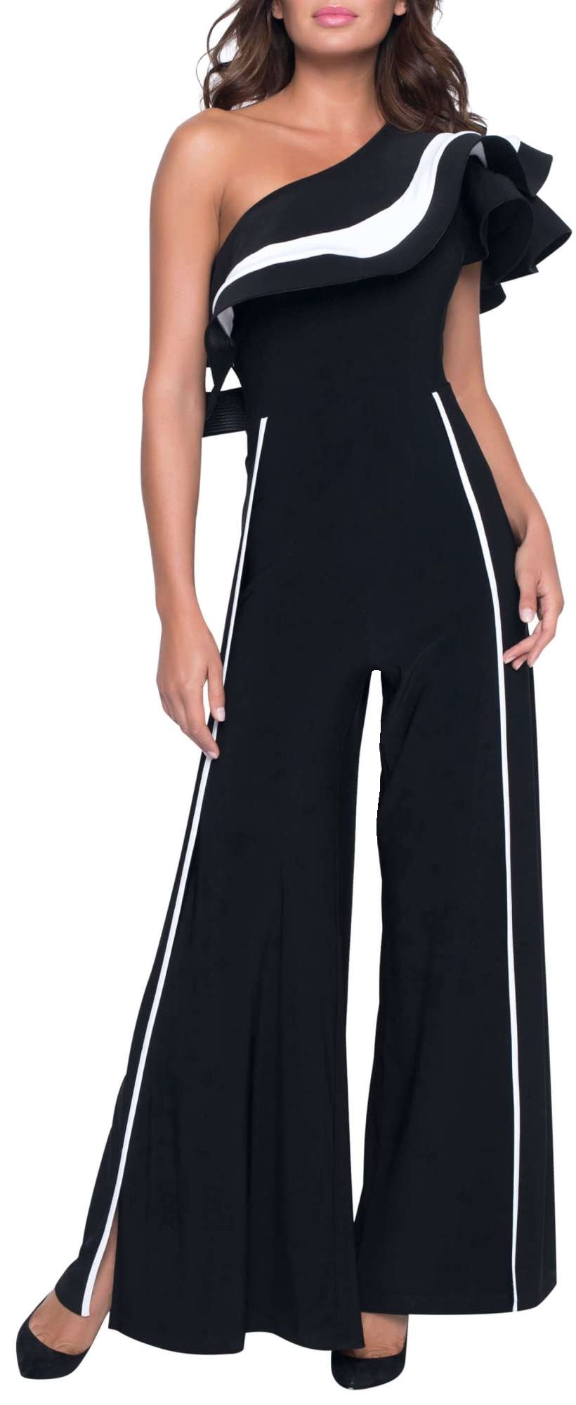 Frank Lyman Womens One Shoulder Jumpsuit, Style 198060, Color Black