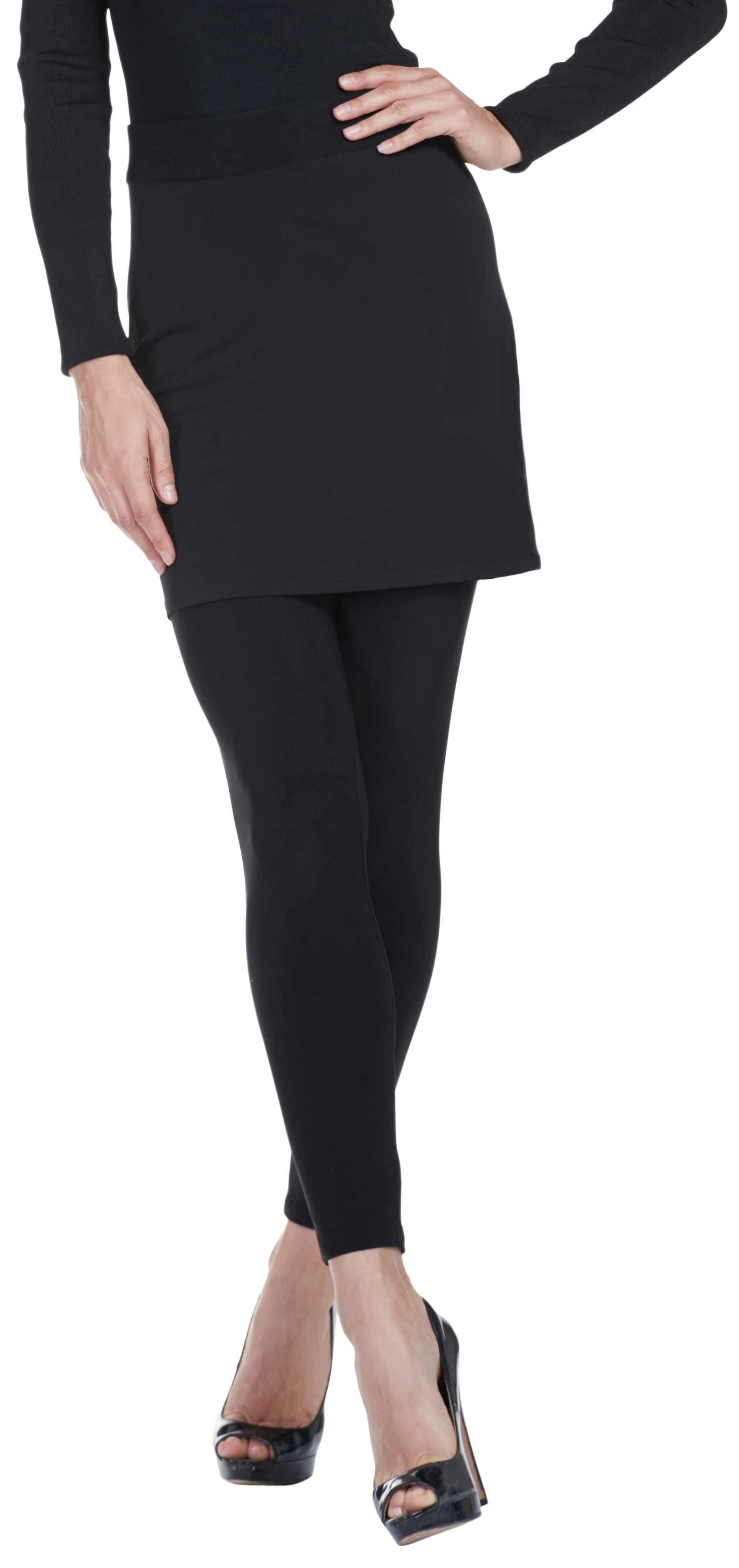 Frank Lyman Womens Skirted Legging, Style 64065, Color Black