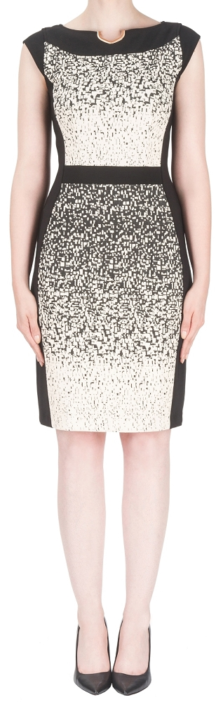 Joseph Ribkoff Womens Cocktail Dress, Style 153894U, Color Beige/Black