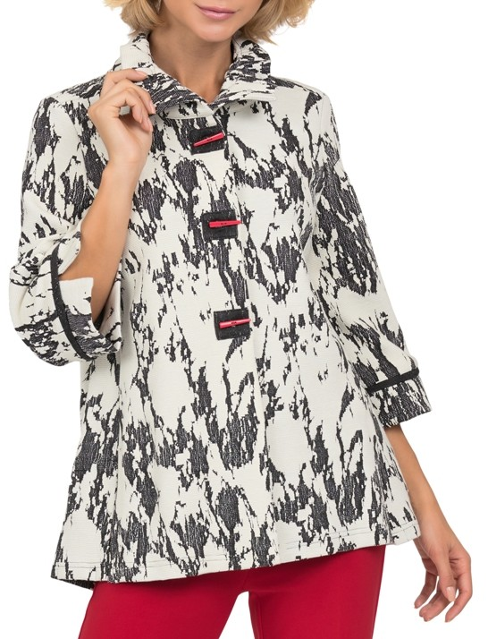 Joseph Ribkoff Womens Flared Jacquard Jacket, Style 191809, Color Cream/Black