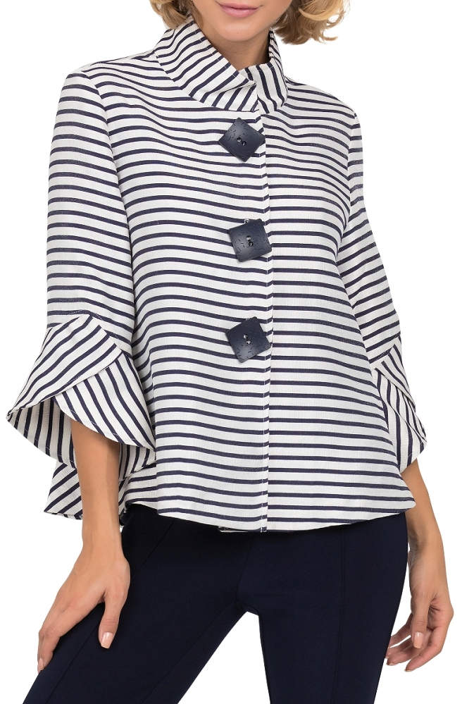Joseph Ribkoff Womens Striped Jacquard Jacket, Style 191917, Color Navy/Off White