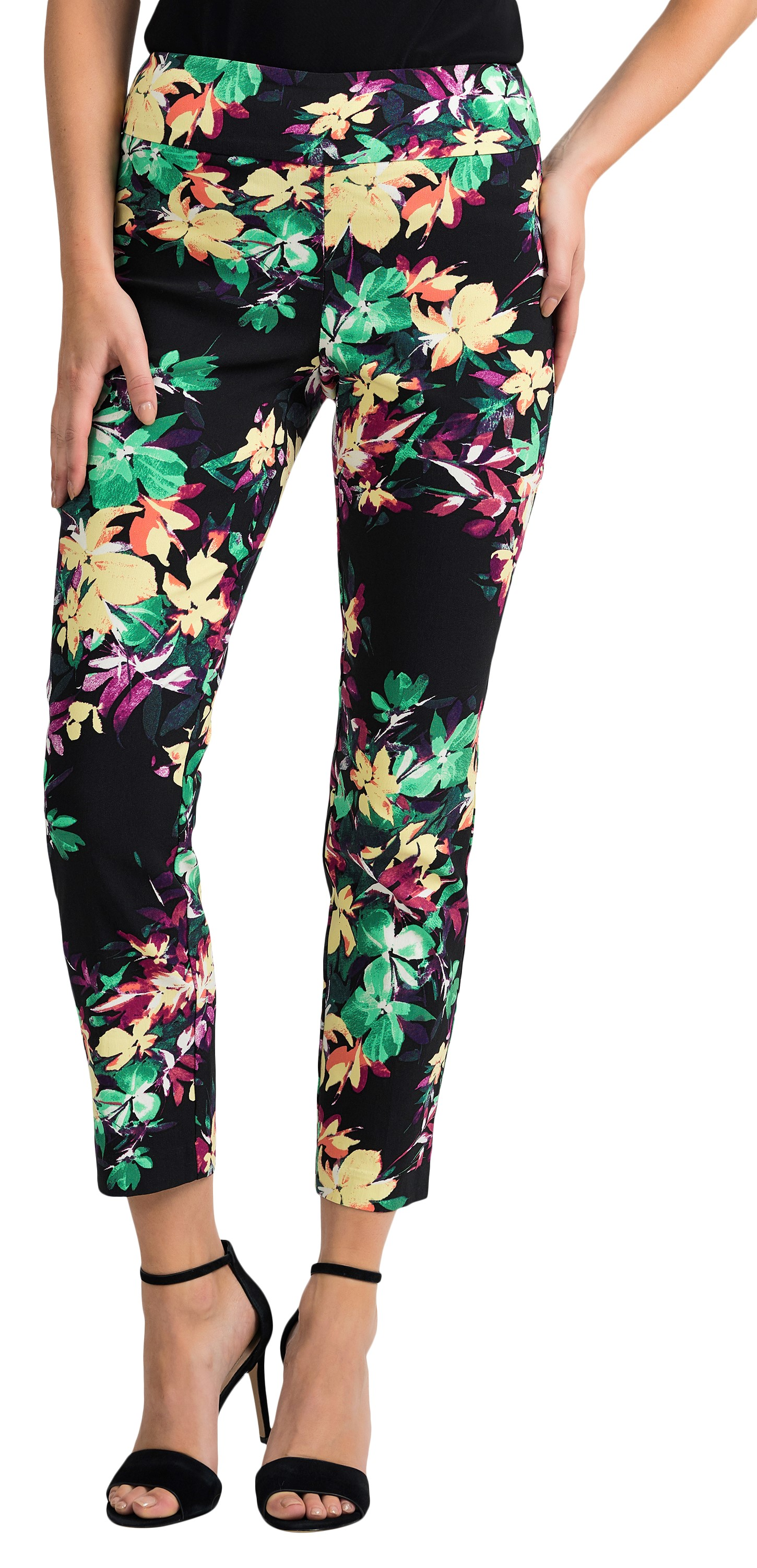Joseph Ribkoff Womens Floral Pants Style 201390 Color Black/Multi