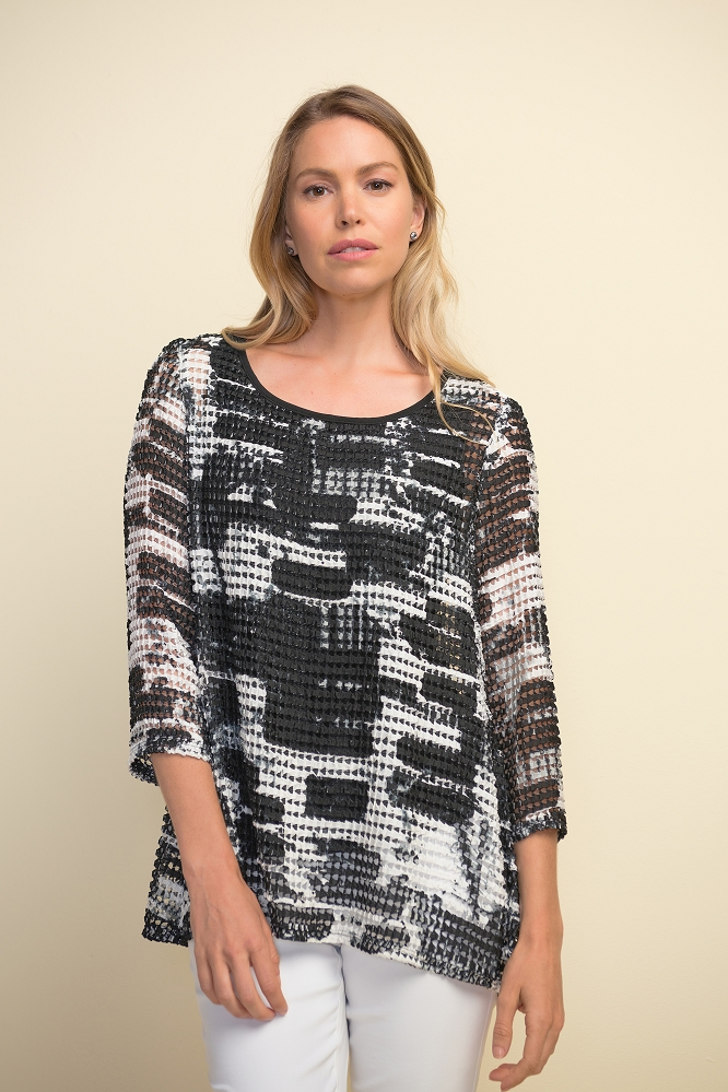 Joseph Ribkoff Womens Abstract Macrame Top Style 211266