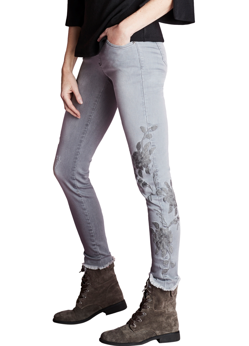 Remarkable Lisette L Slim Jeans Style 456788 Clara Denim With Flower Embroidery Color Grey Download Free Architecture Designs Rallybritishbridgeorg