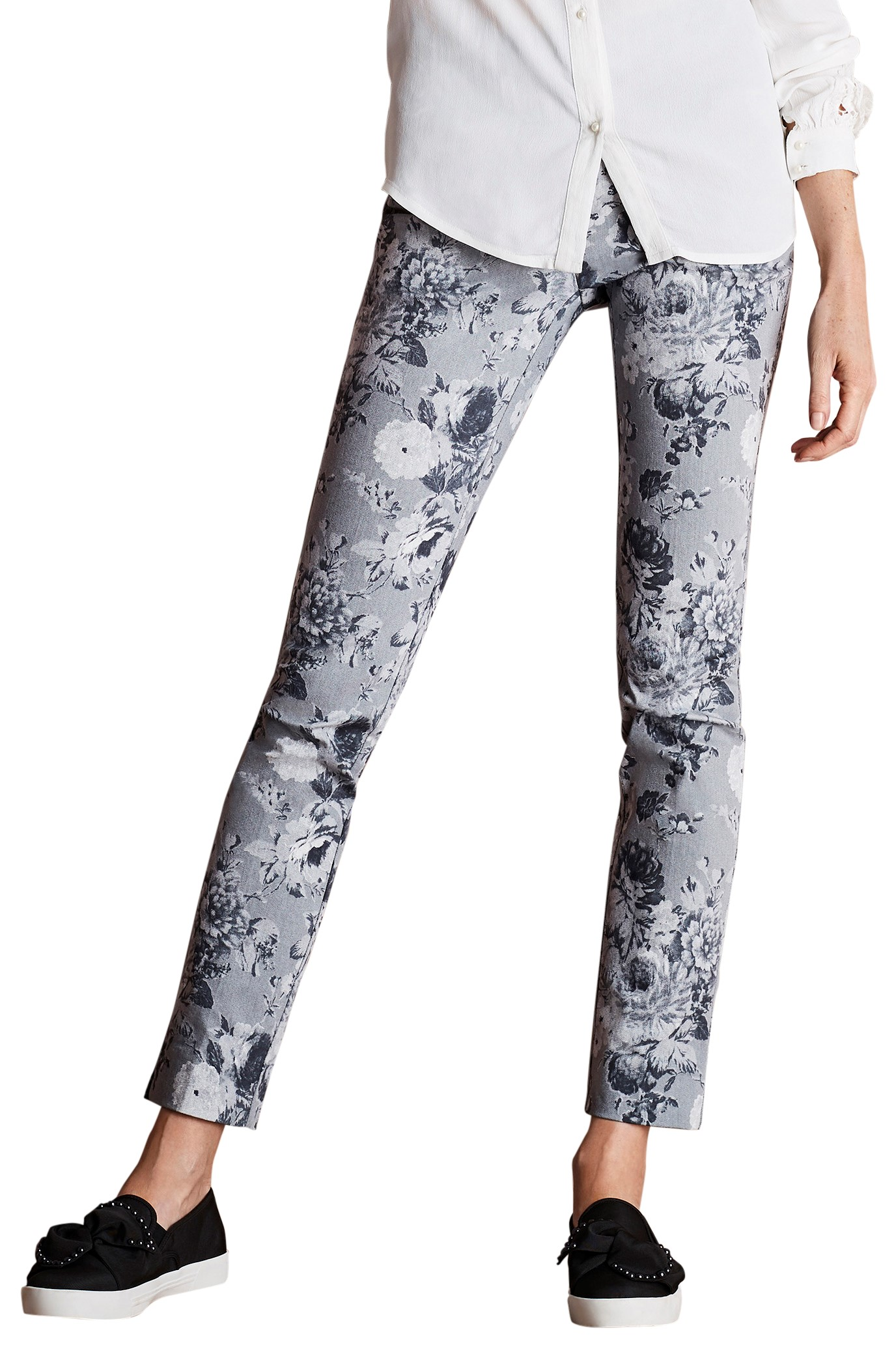 4eca760baa Lisette L. Slim Ankle Narrow Pant Style 40455 Sepia Floral Print CP Twill  Color Grey