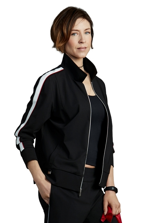 Lisette L. Zipper Jacket Style 176528 Athleisure Kathryn PDR Color Black