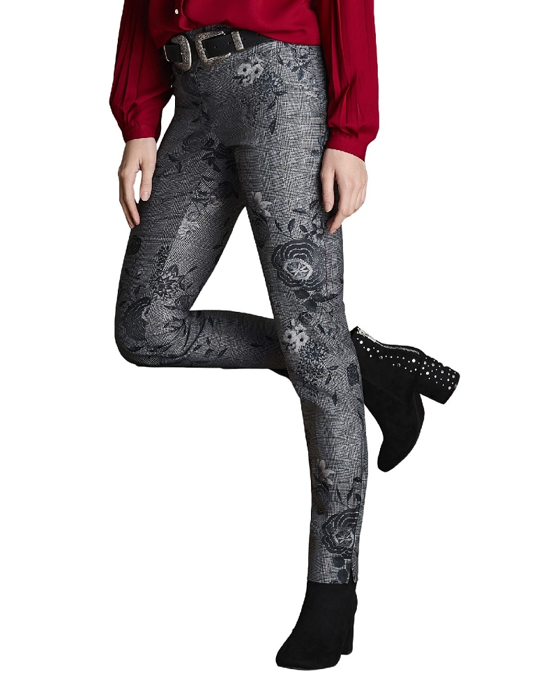 Lisette L. Skinny Leg Pant Style 42605 Glen Floral Print CP Twill Color Black