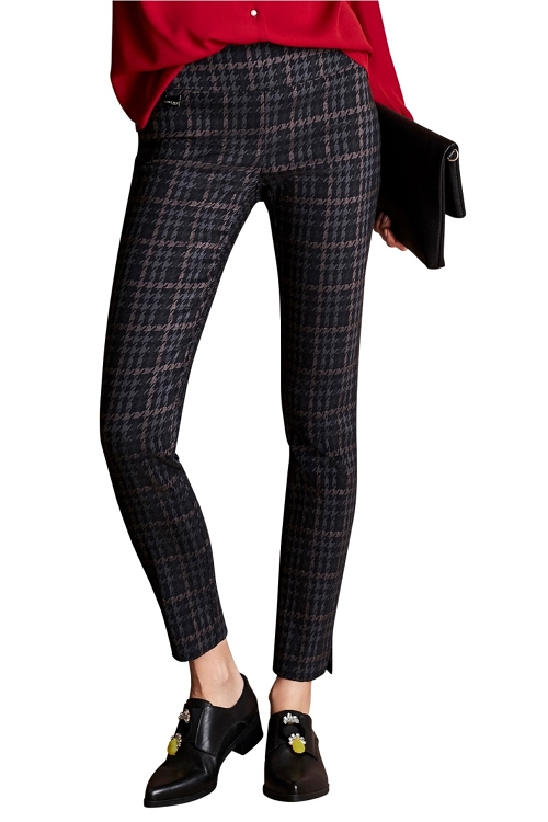 Lisette L. Slim Ankle Pant Style 45001 Dogtooth Jacquard Color Charcoal