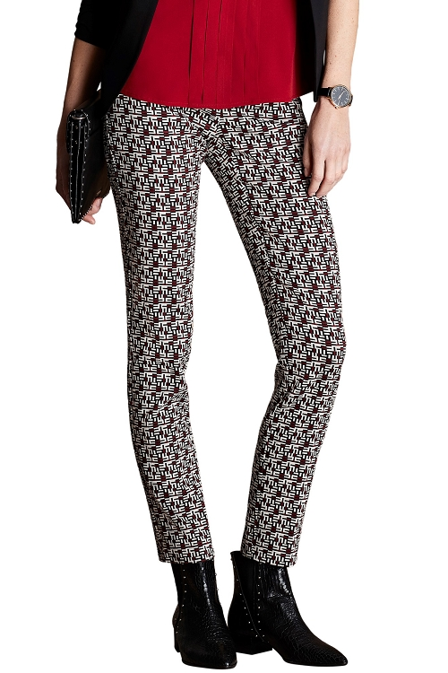 Lisette L. Slim Ankle Narrow Pant Style 44955 Maze Jacquard Color Brick Red