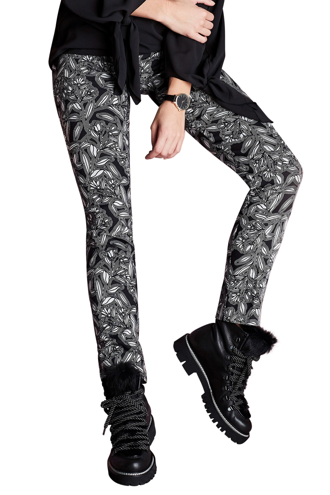 f7c79aaa632fc6 Home > LISETTE L MONTREAL > Lisette L Slim Ankle Pants > Lisette L. Slim  Ankle Pant Style 40701 Trinity Floral Print CP Twill Color Black-White