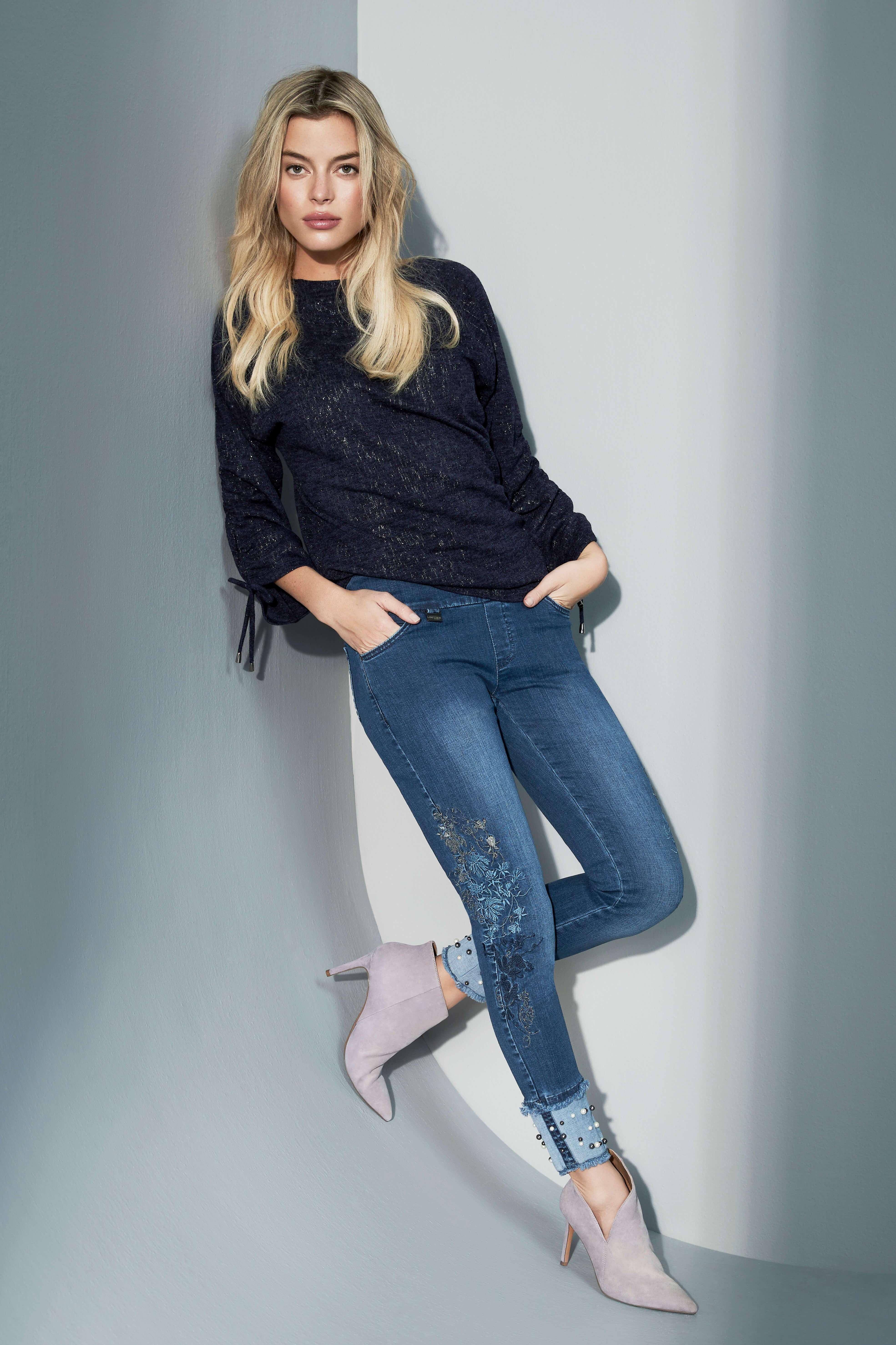 Lisette L Slim Ankle Narrow Jeans Style 455609 Betty Denim Embroidery & Pearls Color Denim Blue