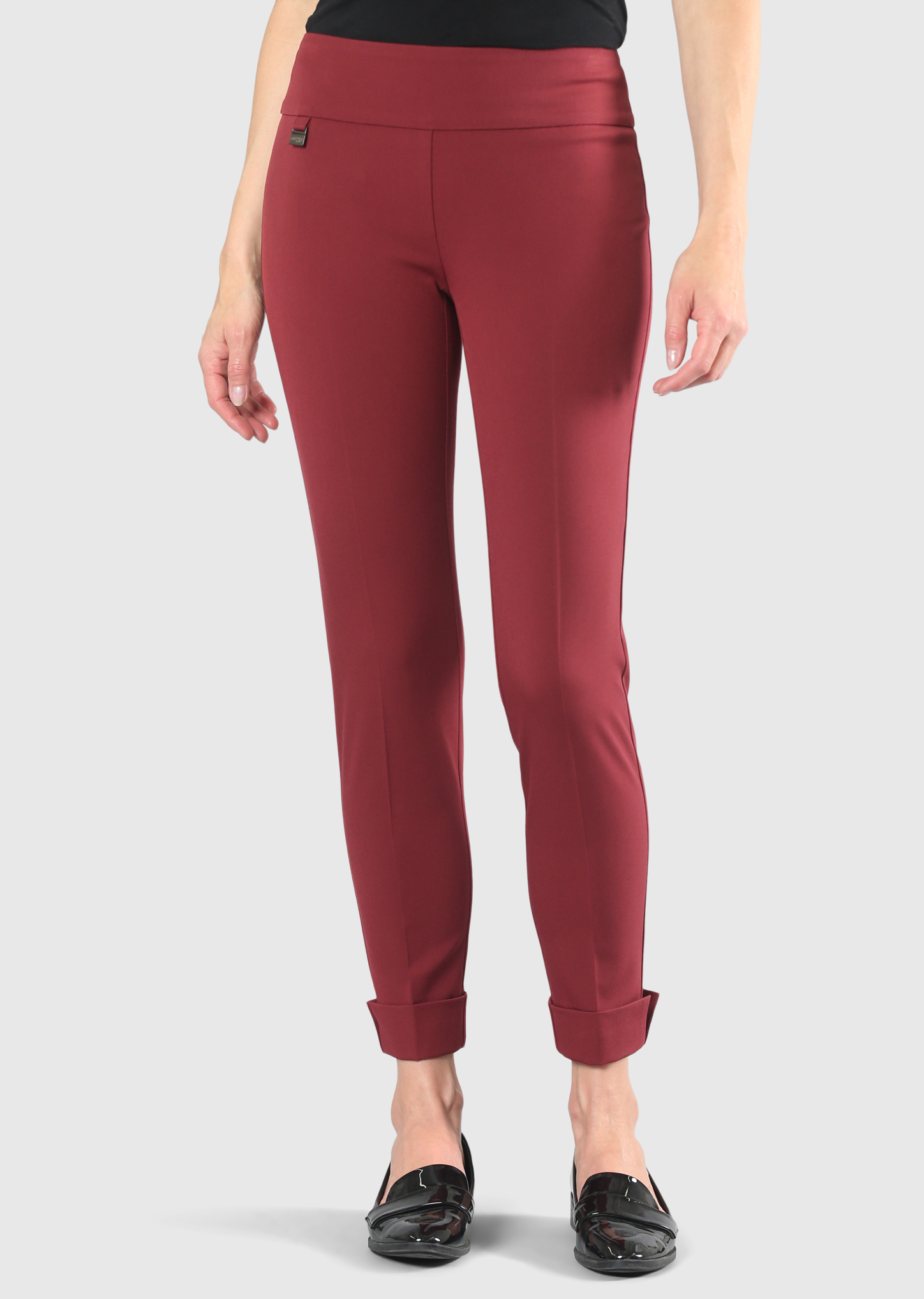 Lisette L. Slim Ankle Cuffed Pant Style 22617 Gaby Stretch Tweed Piping Color Rosewood