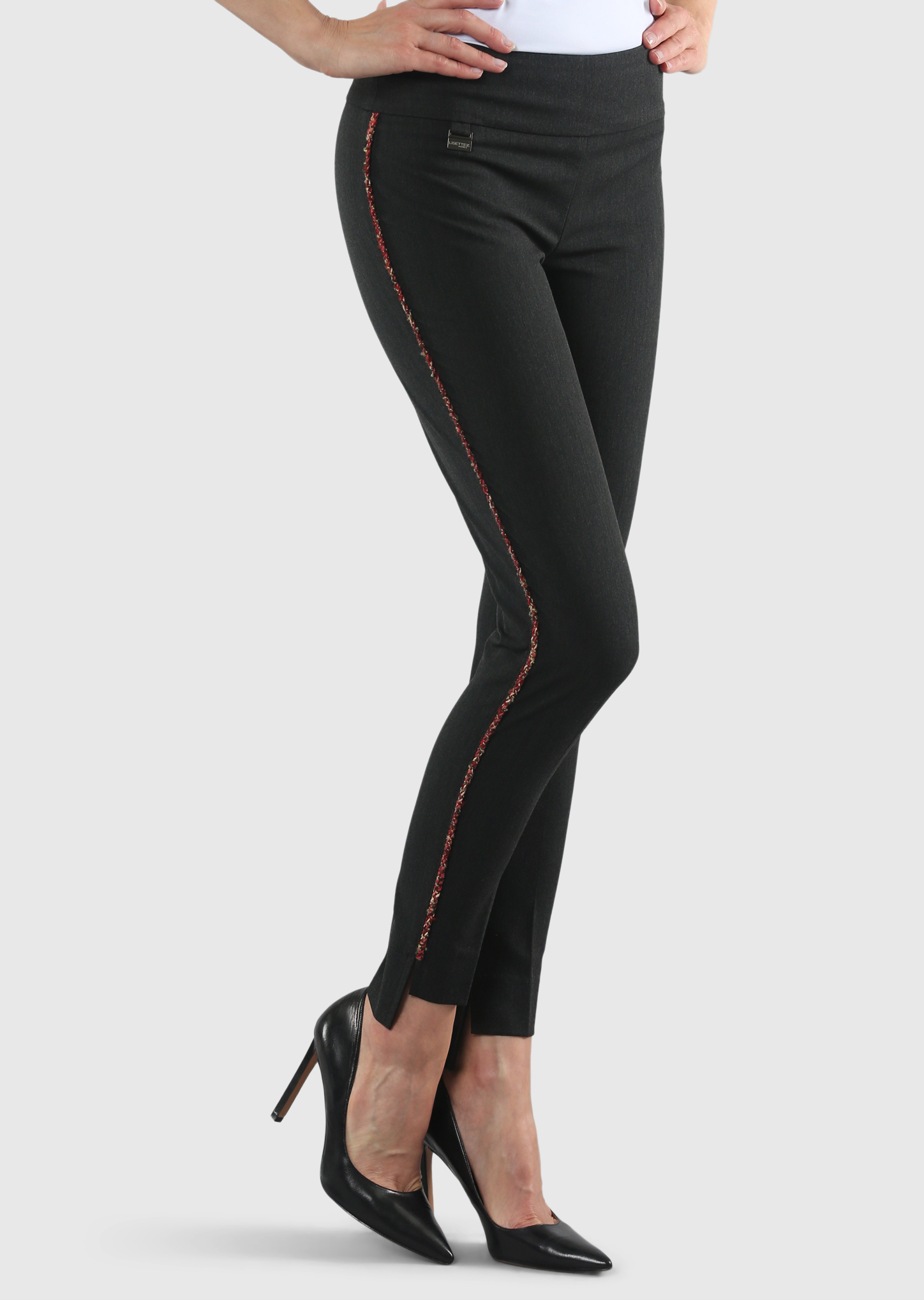 Lisette L. Slim Ankle Hi-Lo Pant Style 22729 Gaby Stretch Tweed Piping, 4 Colors Available