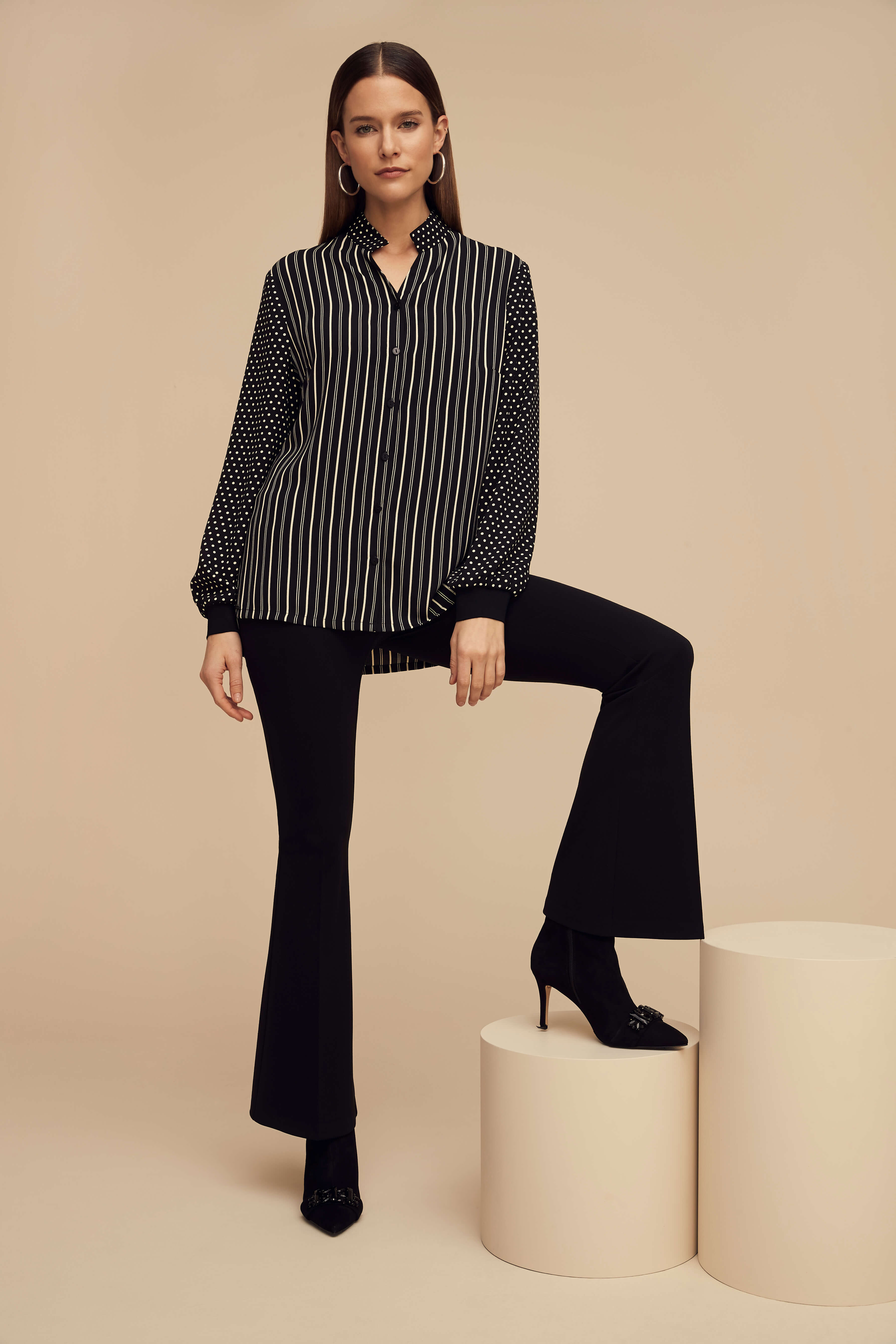Lisette L. Fall 2020 Essentials, Slim Flared Pants Style 176686 Kathryn PDR Color Black