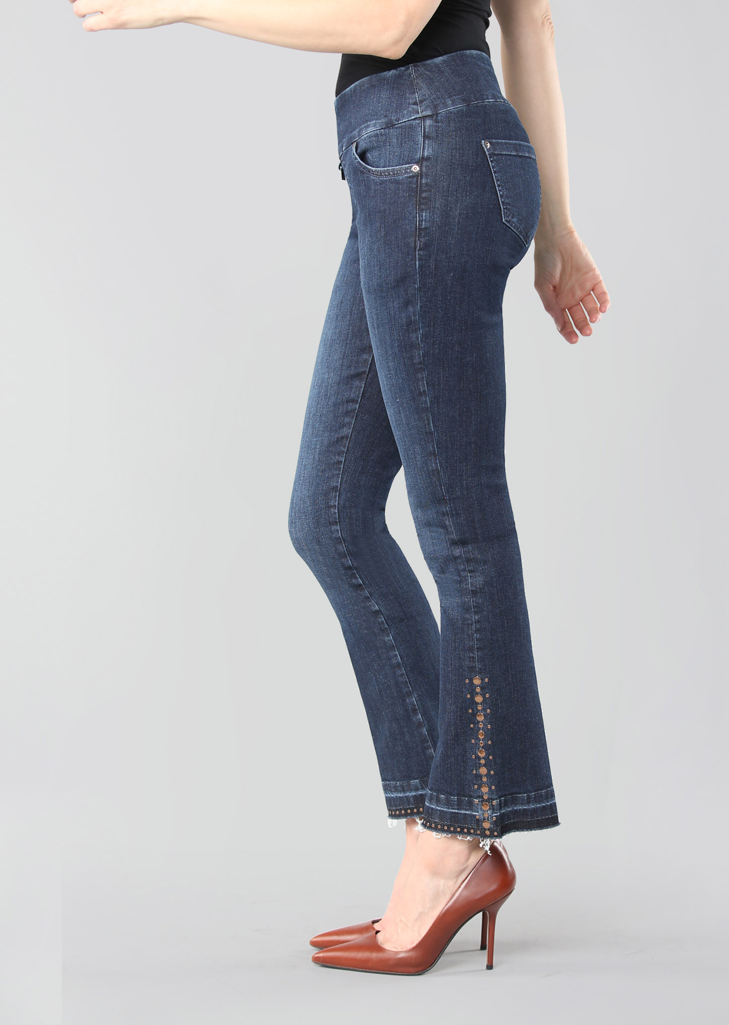 Lisette L. Mini Flare Jeans, Style 455631 Betty Denim Copper Studs Color Denim Blue