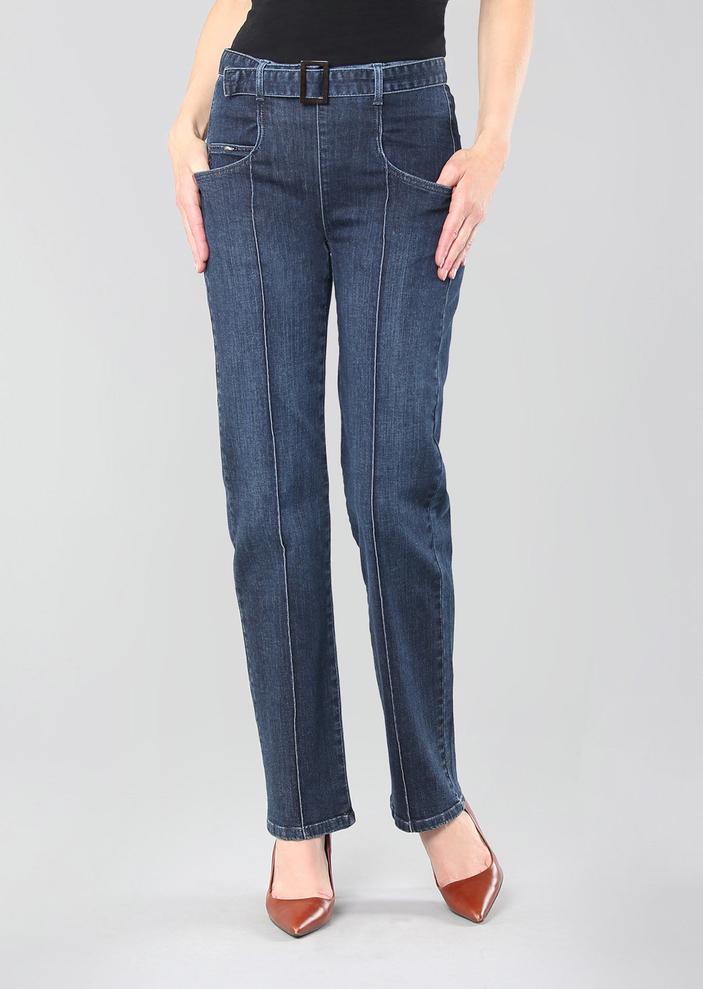 Lisette L. Straight Jeans Style 455638 Betty Denim Belted High Rise Color Denim Blue