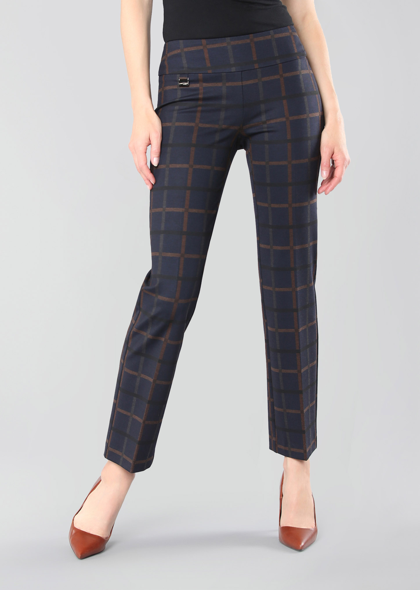 Lisette L. Ankle Trouser Style 69056 Crowley Check PDR Color Navy