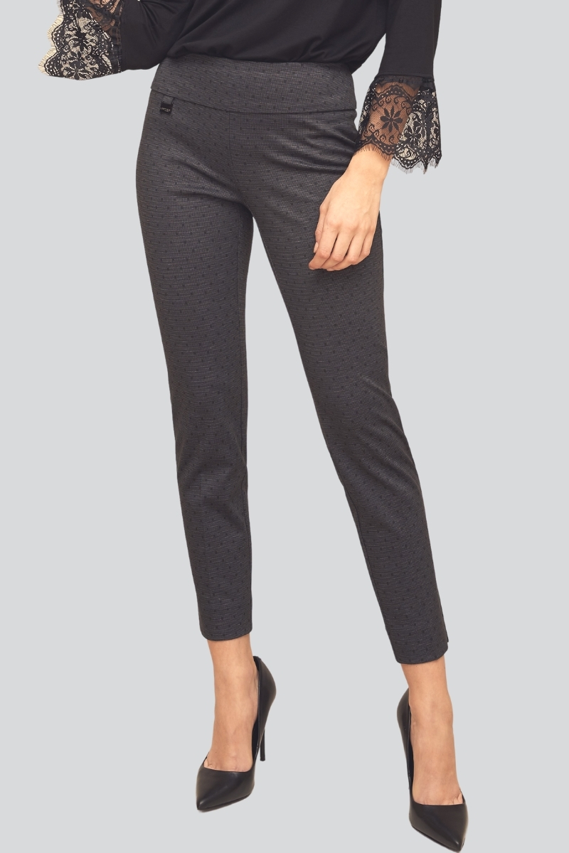 Lisette L. Slim Ankle Narrow Pant Style 71955 Owen Dot PDR Color Charcoal