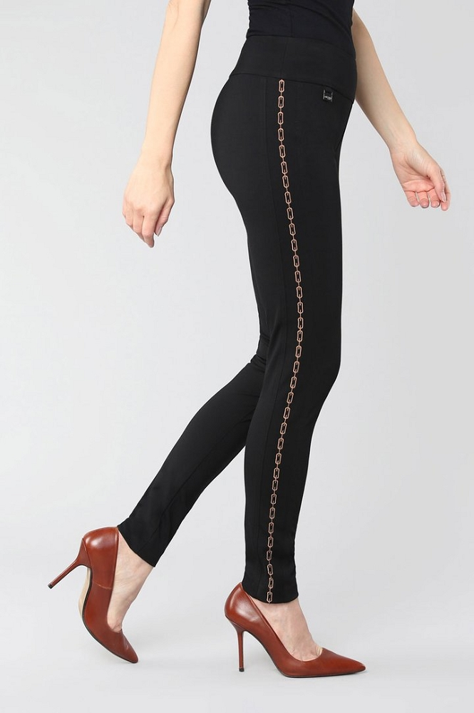 Lisette L. Slim Ankle Pant Style 176667 Kathryn PDR Chain Link Embroidery Color Black