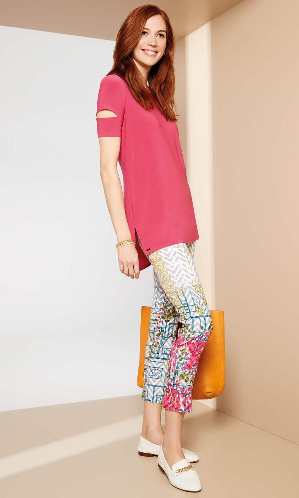 Lisette L. Slim Ankle Narrow Pant Style 47401 Garden Gate Border Print Jacquard Color Multi