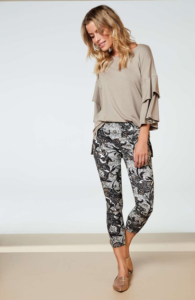 Lisette L. Thinny Crop Pant Style 42202 Roma Paisley Print  Magical Lycra Color White-Black
