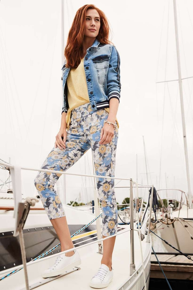 Lisette L. Slim Ankle Pant Style 49701 Zinnia Print Floral Color Denim Blue