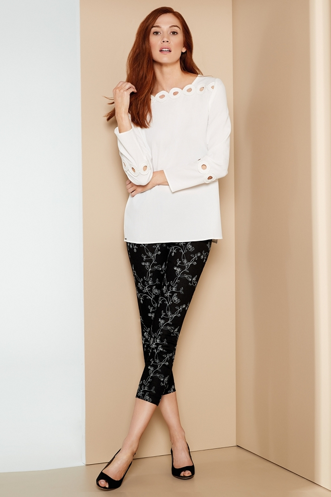 Lisette L. Thinny Crop Pant Style 47802 Tea Rose Embroidery Print , 2 Colors Available
