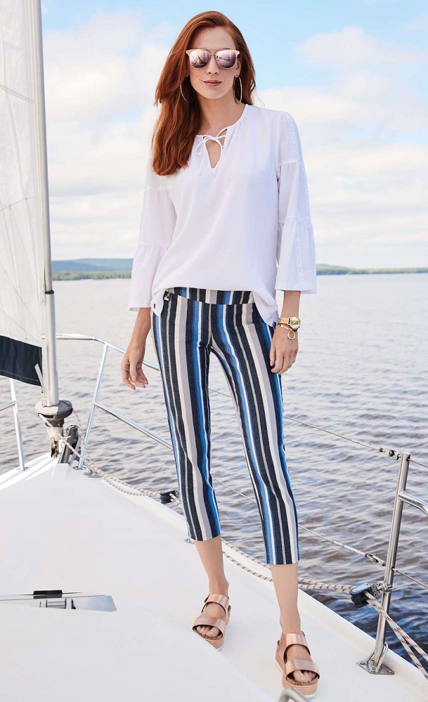 Lisette L. Slim Ankle Narrow Pant Style 50155 Armada Stripe Print Color Denim Blue