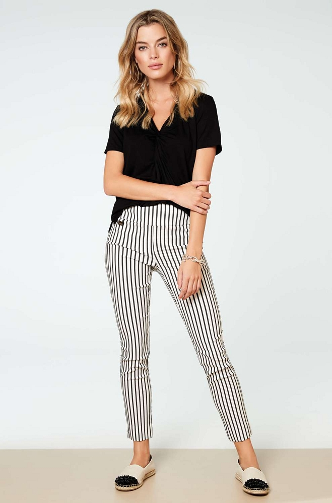 Lisette L. Slim Ankle Narrow Style 50255 Lounge Stripe Print Color White-Black