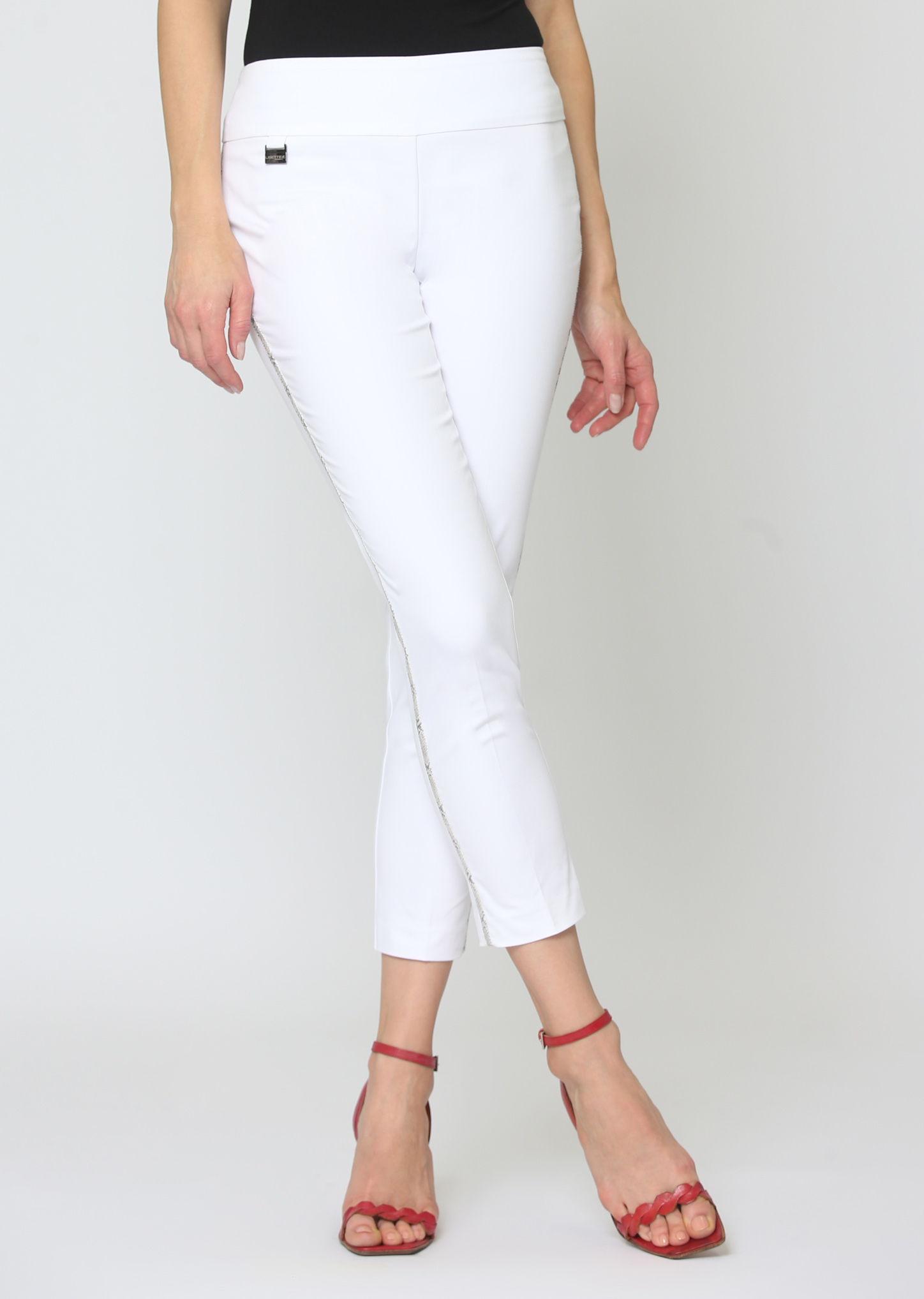 Lisette L. Crop Ankle Pant Style 260873 Jupiter Snakeskin Trim Color White