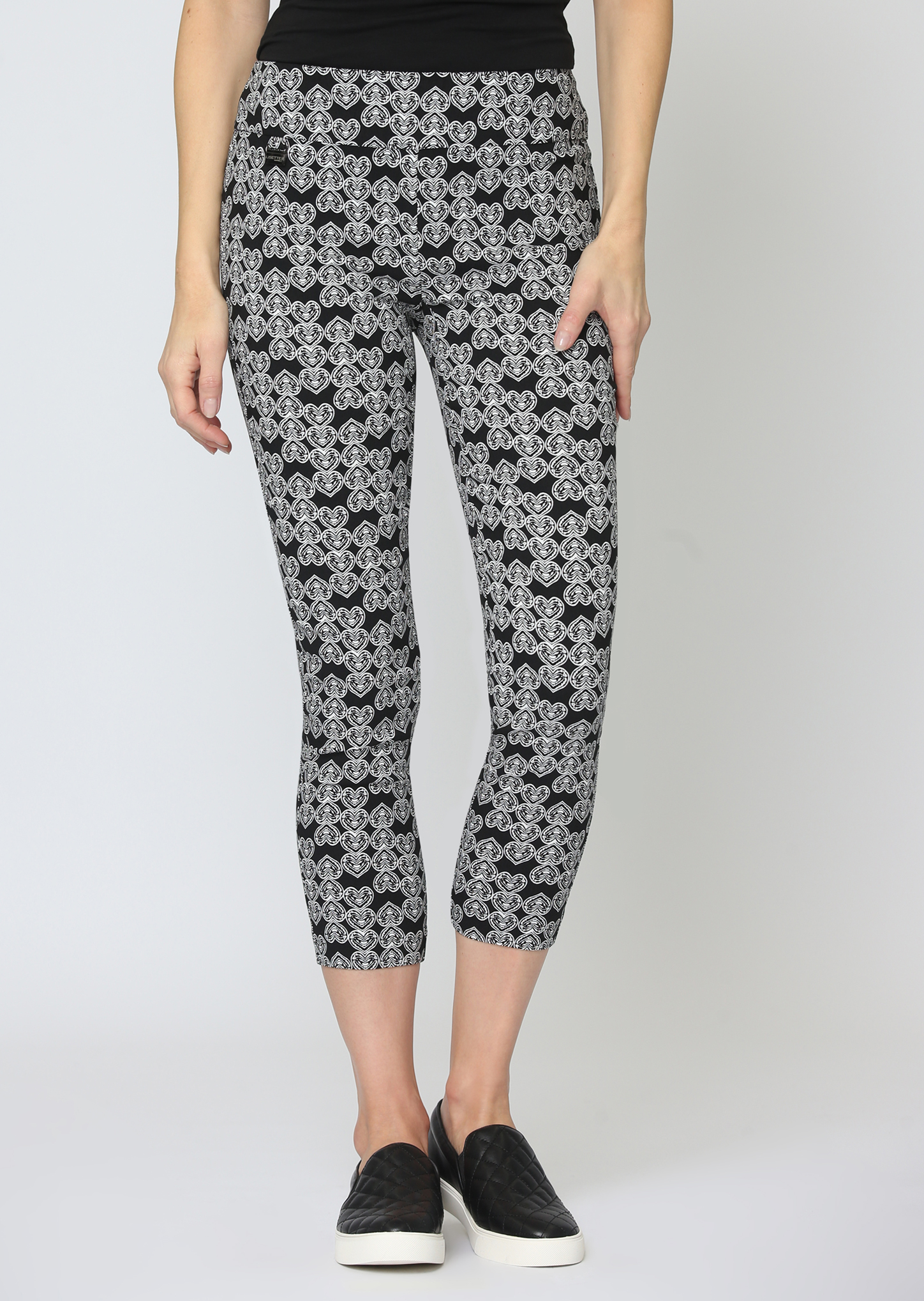 Lisette L. Thinny Crop Pant Style 60602 Heart Print Magical Lycra Color Black-White