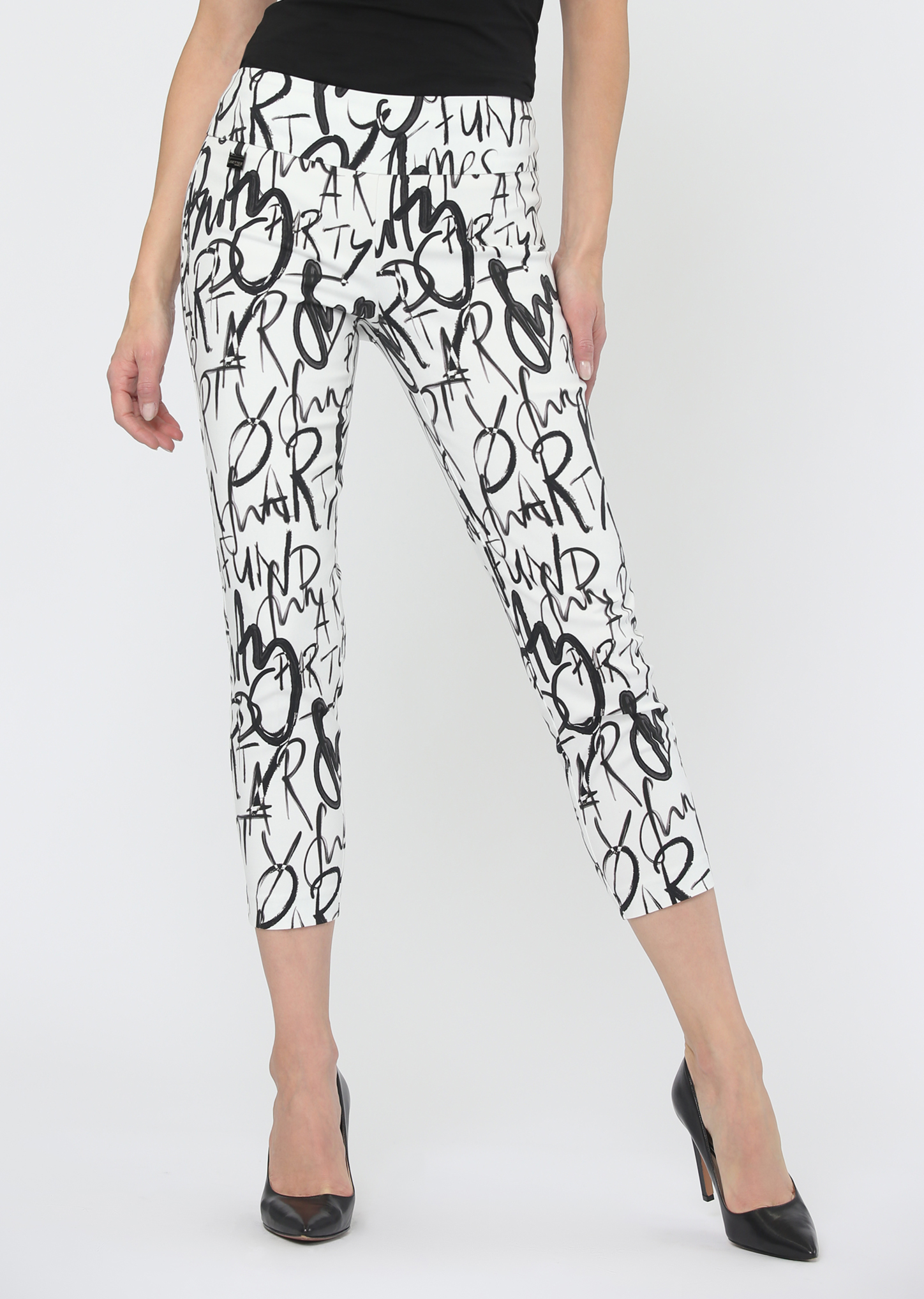 Lisette L. Thinny Crop Style 61802 Fun Party Print Color White-Black