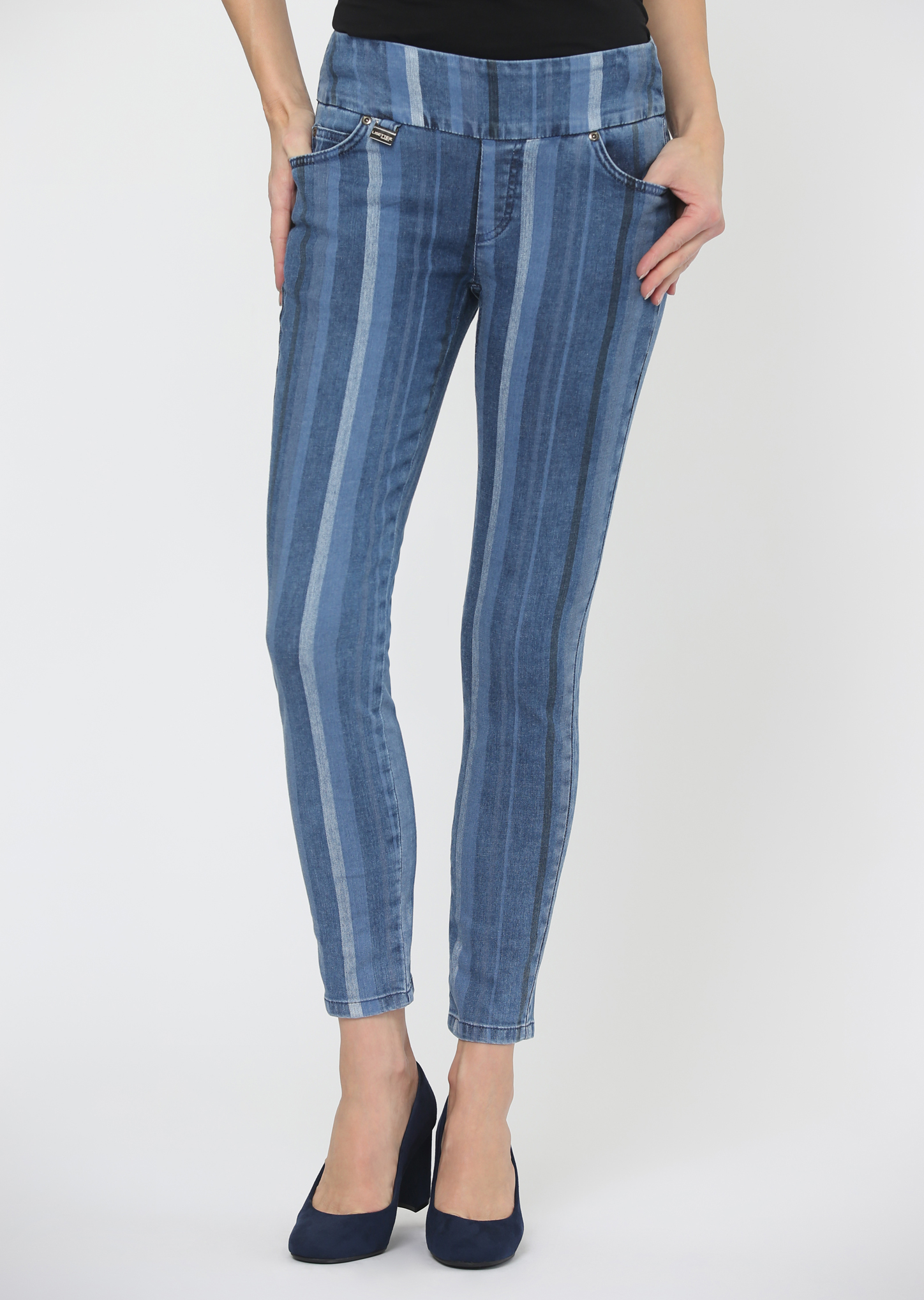 Lisette L. Slim Jean Style 628933 Petra Stripe Denim, Color Blue
