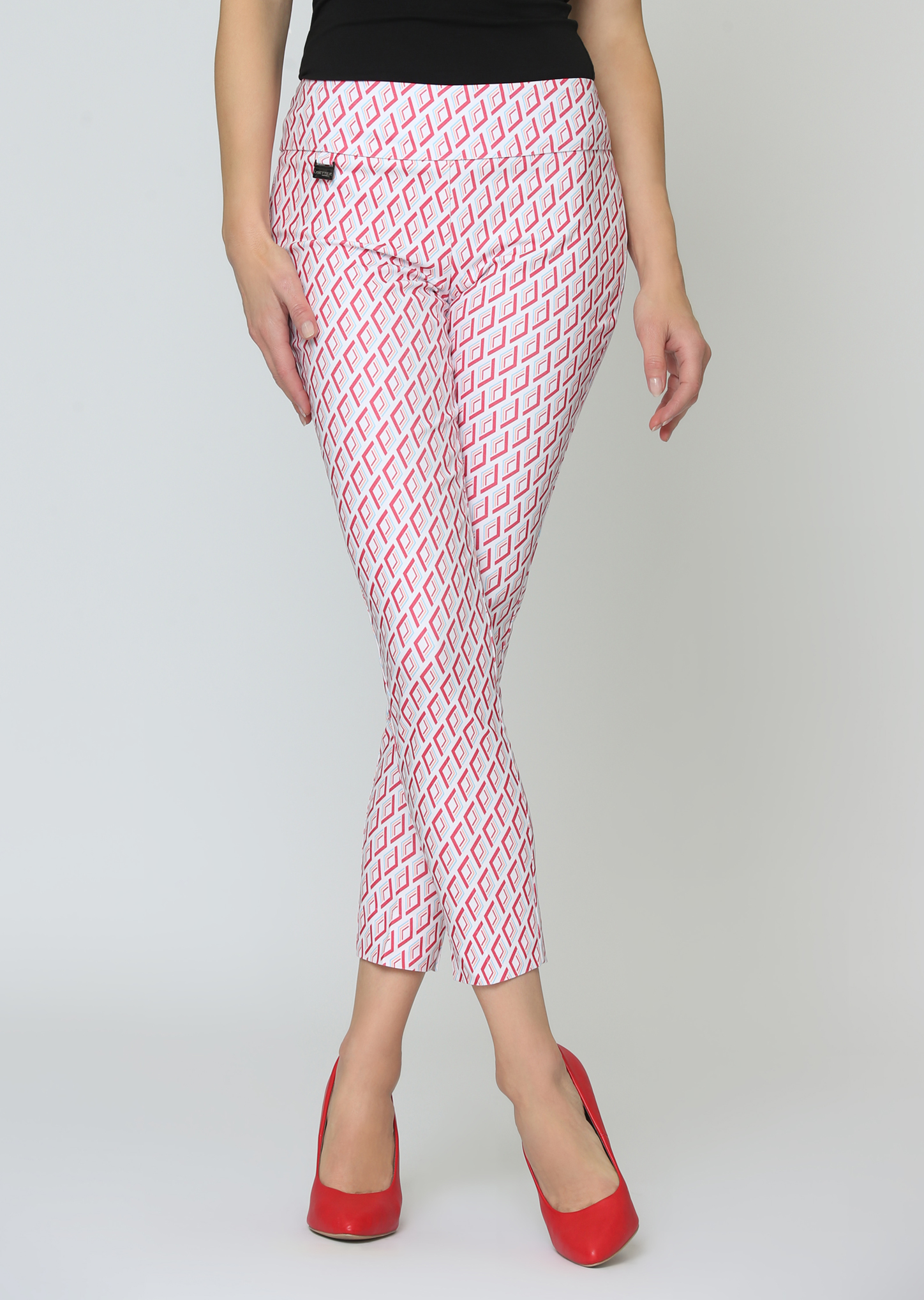 Lisette L. Slim Ankle Narrow Pant Style 63555 Murex Print Color Tomato