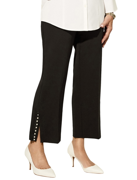 Lisette L. Crop Ankle Trouser Style 33483 Victoria Stretch Crepe With Pearl Slit Color Black
