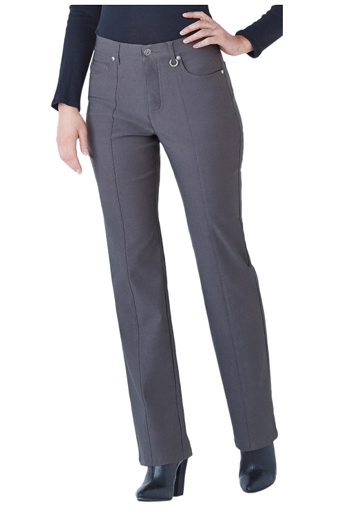 Simon Chang Micro Twill Straight Leg , Charcoal, Inseam 33