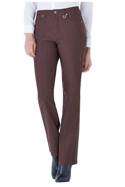 Simon Chang Micro Twill Straight Leg , Brown , Inseam 33