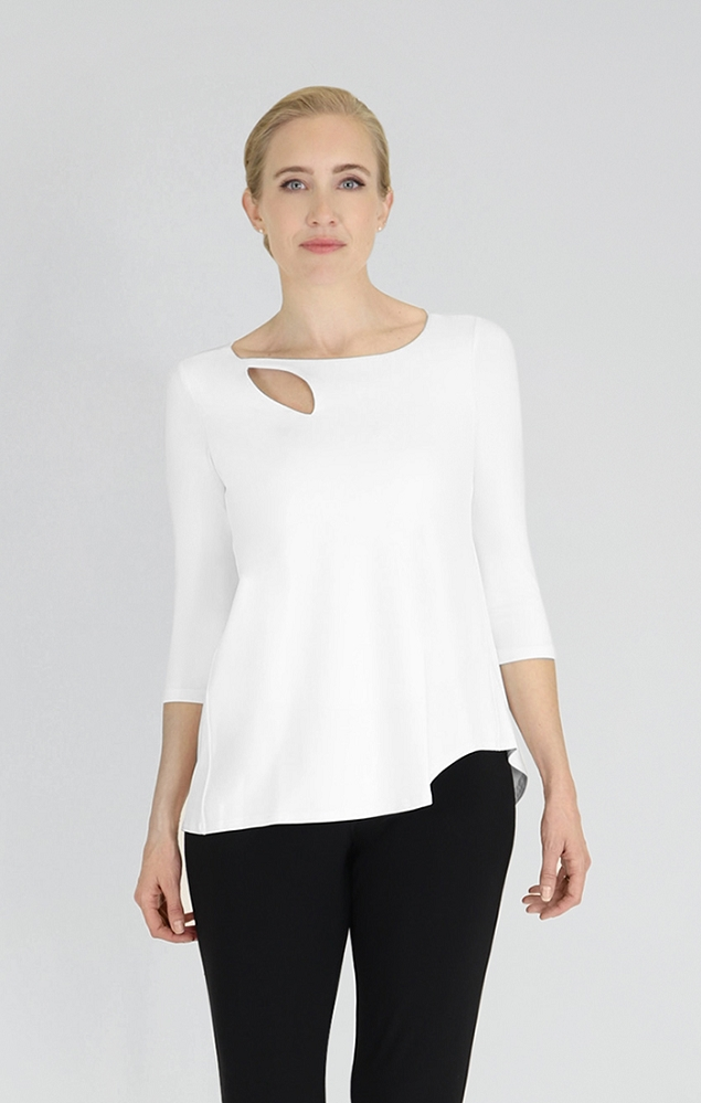 Sympli Womens Fortune Top Style 22141-2, 3/4 Sleeves Color White