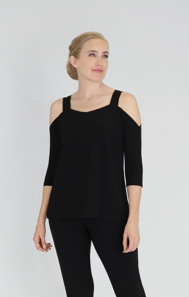 Sympli Womens Etched Top, Style 22160-2, 3/4 Sleeves Color Black
