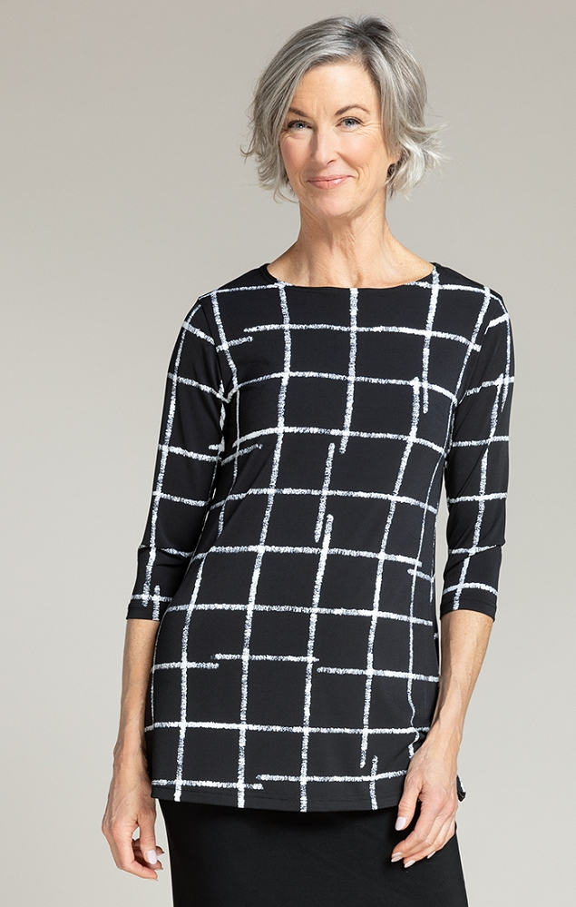 Sympli Nu Ideal Tunic 3/4 Sleeves, Style 23113-2 Color Crosshatch Black