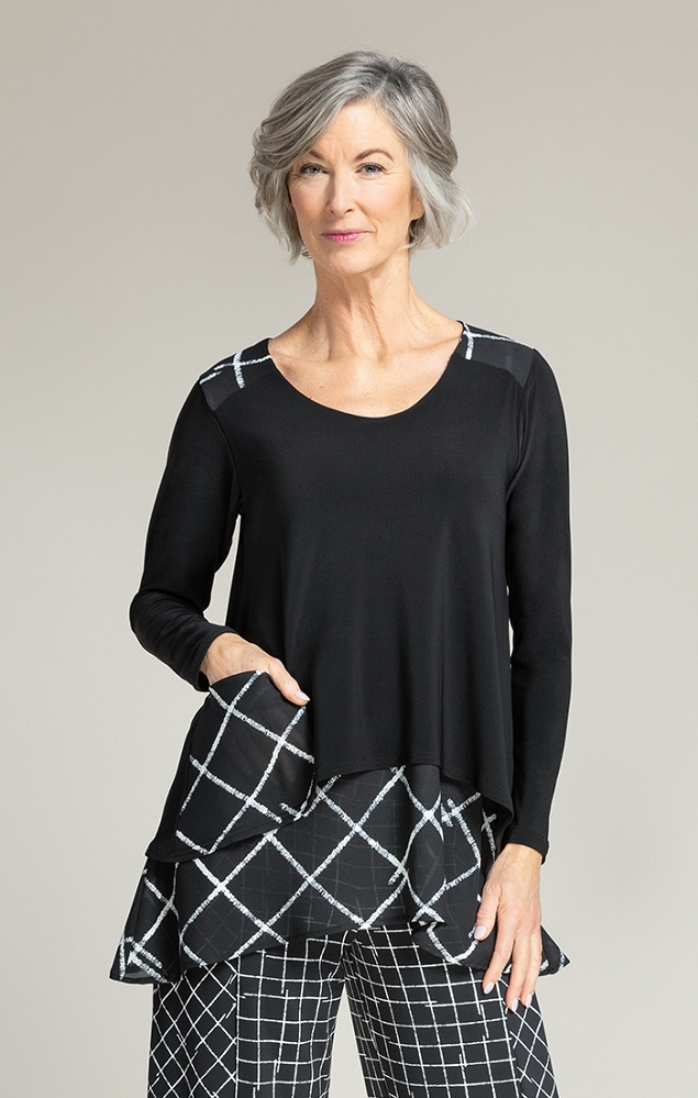 Sympli Womens Whisper Pocket Top, Style 9208-2 Color Crosshatch Black