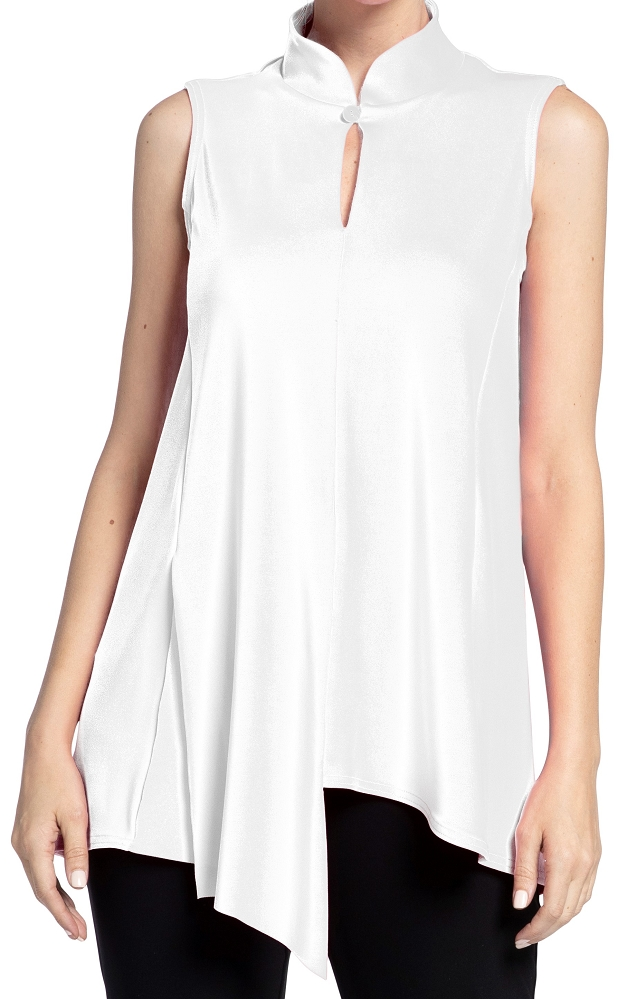 Sympli Womens Sleeveless Double Over Top Style 21142, 2 Colors Available