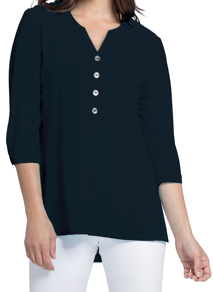 Sympli Womens Charm Henley Top Style 22184-2, 3 Colors Available