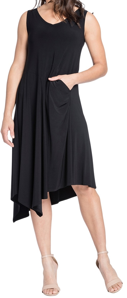 Sympli Sleeveless Slant Pocket Dress 2888, Color Black