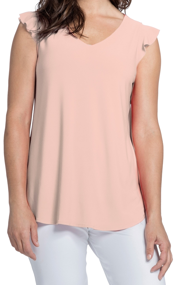 Sympli Womens Sleeveless Romance Top Style 21161, 2 Colors Available